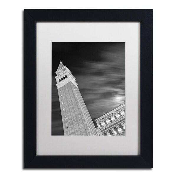 Moises Levy 'San Marco Sky' White Matte, Black Framed Canvas Wall Art