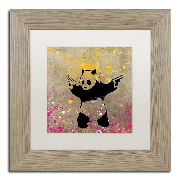 Banksy 'Panda with Guns' White Matte, Birch Framed Canvas Wall Art