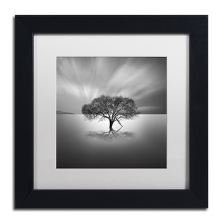 Moises Levy 'Water Tree VIII' White Matte, Black Framed Canvas Wall Art