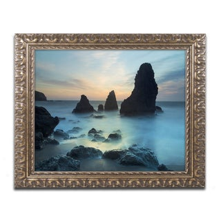 Moises Levy 'Rodeo Beach I' Gold Ornate Framed, Canvas Wall Art