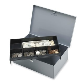 Sparco All-Steel 6 Compartment Tray Cash Box - (1/Each)