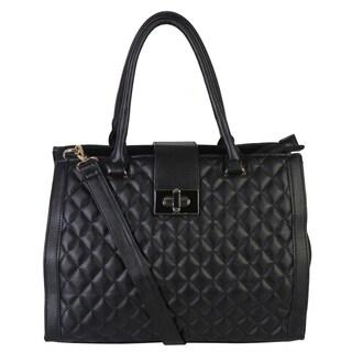 Rimen & Co. Faux Leather Quilted Tote Satchel Women's Purse Handbag