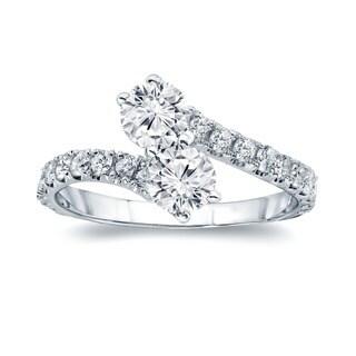 Auriya 14k Gold 1ct TDW 2-Stones Round Cut Diamond Ring (H-I, I1-I2)