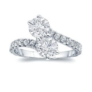 Auriya 14k Gold 2ct TDW 2-Stones Round Cut Diamond Ring (H-I, I1-I2)