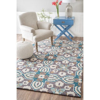 nuLOOM Handmade Contemporary Geometric Floral Green Rug (7'6 x 9'6)