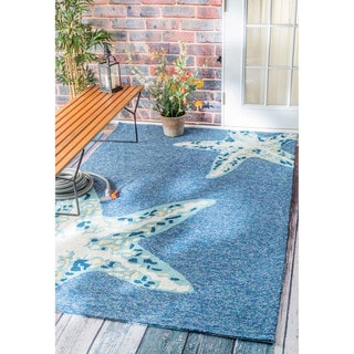 nuLOOM Handmade Starfish Indoor/ Outdoor Light Blue Rug (9' x 12')