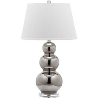 Safavieh Pamela Silver/ White Shade Triple Gourd Ceramic Table Lamp