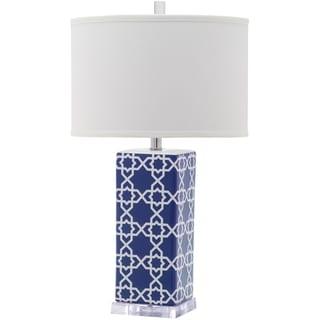 Safavieh Lighting 27-inch Quatrefoil Navy Table Lamp