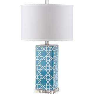"Safavieh Lighting 27-inch Quatrefoil Light Blue Table Lamp - 15""x15""x27"""