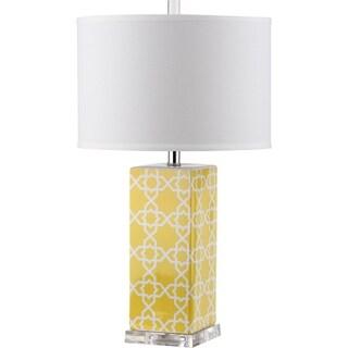 "Safavieh Lighting 27-inch Quatrefoil Yellow Table Lamp - 15""x15""x27"""