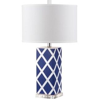 Safavieh Lighting 27-inch Garden Lattice Navy Table Lamp