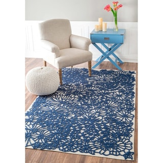 nuLOOM Handmade Tropical Flowers Blue Rug (5' x 8')