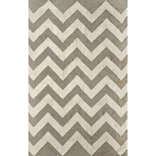 nuLOOM Flatwoven Indoor/ Outdoor Chevron Fancy Grey Rug (4' x 6')