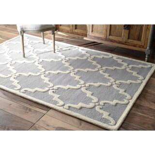 nuLOOM Handmade Luna Marrakesh Trellis Wool Grey Rug (2' x 3')