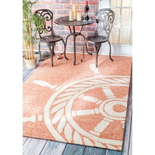 nuLOOM Handmade Nautical Ship Wheel Indoor/ Outdoor Terra Rug (9' x 12')