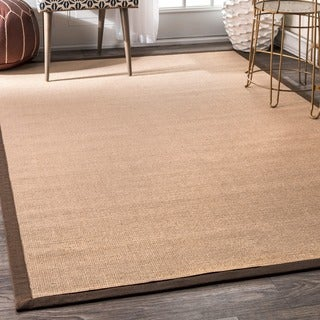 nuLOOM Natural Fiber Reversible Cotton Border Jute Brown Rug (3' x 5')