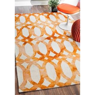 nuLOOM Handmade Dip Dyed Geometric Wool Terra Rug (7'6 x 9'6)