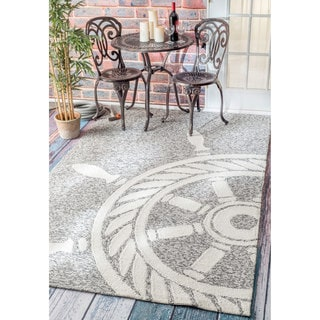 nuLOOM Handmade Nautical Ship Wheel Indoor/ Outdoor Grey Rug (9' x 12')