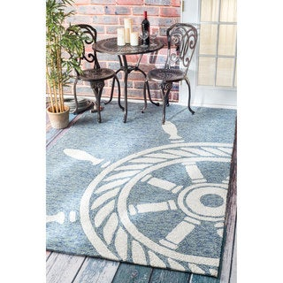 nuLOOM Handmade Nautical Ship Wheel Indoor/ Outdoor Dark Blue Rug (9' x 12')