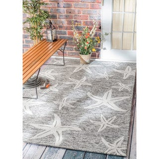 nuLOOM Handmade Coastal Starfish Indoor/ Outdoor Grey Rug (9' x 12')