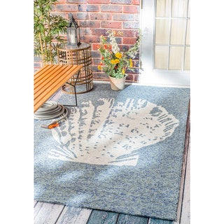 nuLOOM Handmade Coastal Seashell Indoor/ Outdoor Dark Blue Rug (9' x 12')