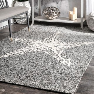 nuLOOM Handmade Coastal Giant Starfish Indoor/ Outdoor Grey Rug (9' x 12')
