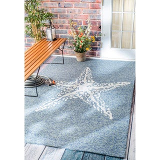 nuLOOM Handmade Coastal Giant Starfish Indoor/ Outdoor Dark Blue Rug (9' x 12')
