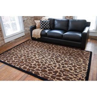 Hand-tufted Brown Leopard Animal Print Safari Wool Rug (8' x 11')