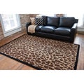 Hand-tufted Brown Leopard Animal Print Safari Wool Rug (8' x 11')