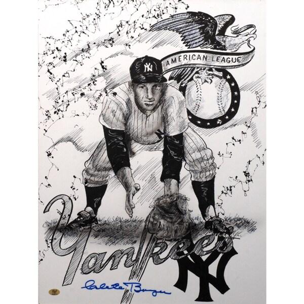 Clete Boyer Autographed Sport Memorabilia Painting by Gary Longordo