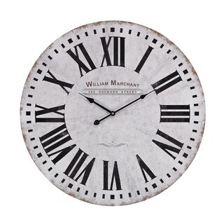 """Sterling Aged White Wall Clock - 24""""w x 2""""d x 24""""h"""