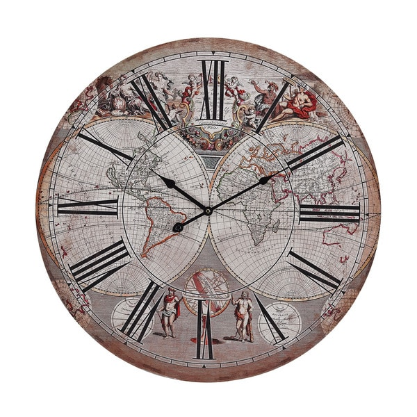 Renaissance-style Printed Map Clock