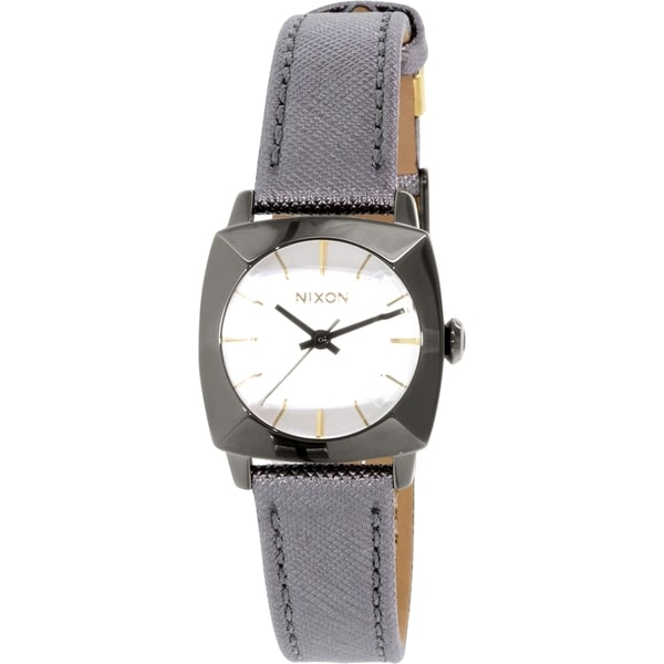 Nixon Women's Luca A401131 Gunmetal Leather Quartz Watch