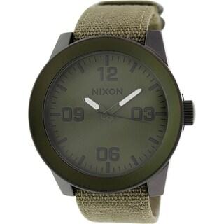 Nixon Men's Corporal A2431377 Green Nylon Quartz Watch