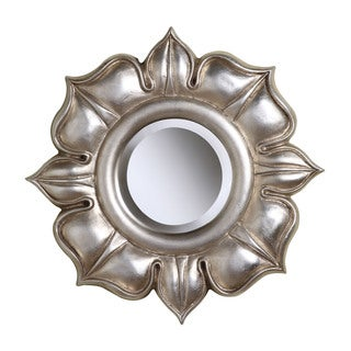 Lotus Round Wall Mirror in Bright Silver Leaf