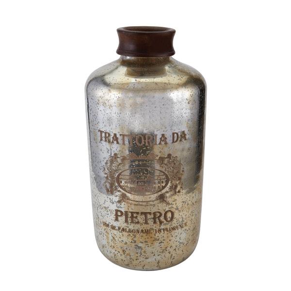 Sterling Oversized Antique Mercury Glass Bottle