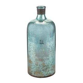 Sterling 13-inch Aqua Antique Mercury Glass Bottle