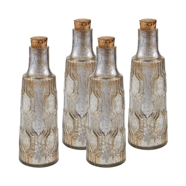 Sterling 8-inch Mouth Blown Mercury Glass Bottle (Set of 4)