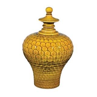 Sterling Large Lidded Ceramic Jar in Chartreuse Glaze