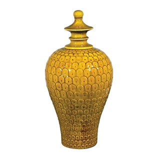 Sterling Medium Lidded Ceramic Jar in Chartreuse Glaze