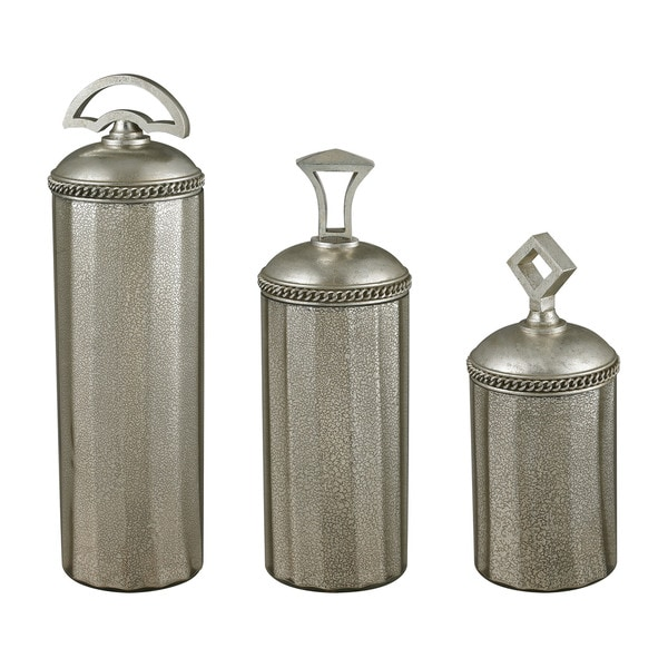 Sterling Halten Antique Mercury Glass Jars (Set of 3)