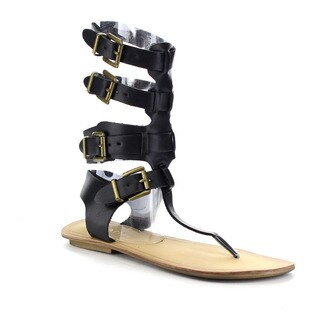 Liliana Avis-3 Women's Flat Buckled Gladiator Sandal