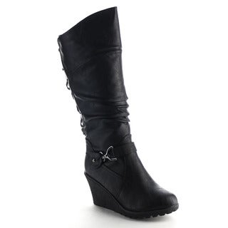 Beston Ca84 Women's Wedge Slouched Knee High Boots