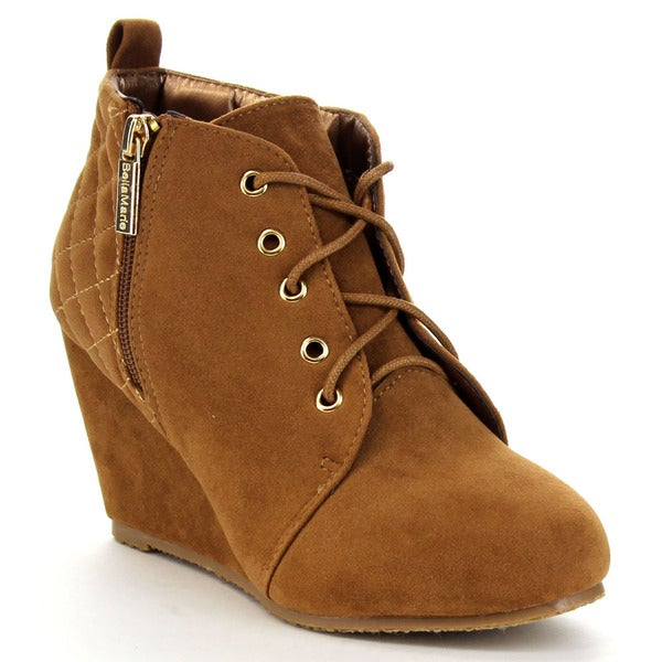 Bella Marie Sally-21 Women's Quilted Wedge Bootie