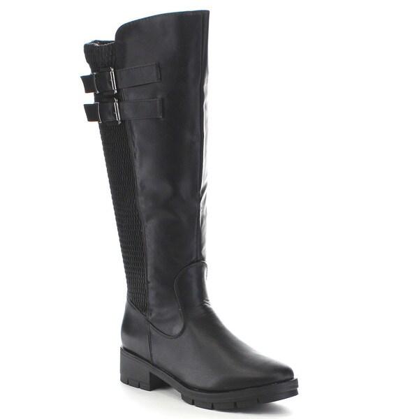 Beston Ga45 Women's 50/50 Knee High Double Straps Elastic Riding Boots