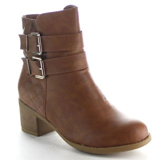 Top Moda Ay-1 Women's Double Buckle Quilted Ankle Booties