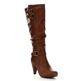 Beston Ga34 Women's Mid Heel Slouch Double Straps Boots