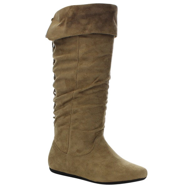 Forever Few20 Women's Stylish Comfort Slouch Knee High Flat Boots