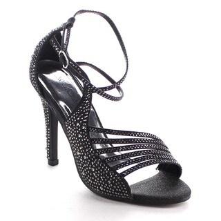 Beston Bb13 Women's Rhinestone Strappy Stiletto Shoes