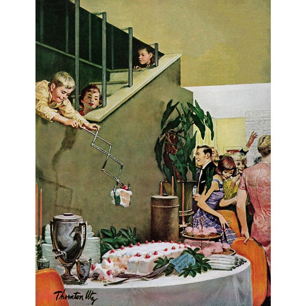 "Marmont Hill - ""Stealing Cake at Grownups Party"" by Thornton Utz Painting Print on Canvas"